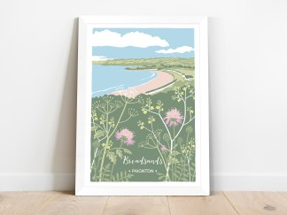framed print of broadsands beach in paignton with summer wildflowers