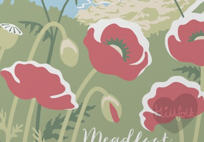 detail of poppies in meadfoot beach illustration torqay, devon