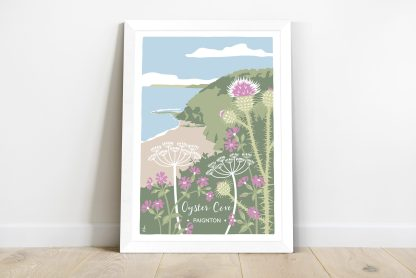 framed print of oyster cove in paignton, devon, wildflower illustration