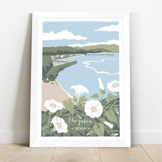 illustration of Paignton in Devon with wildflowers