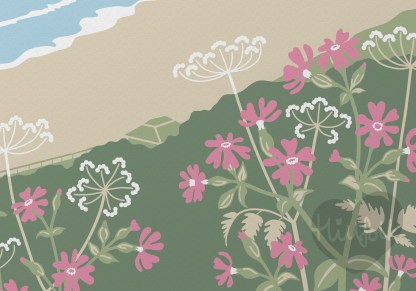detail of Illustration featuring Sennen Cove beach in Cornwall, with red campion and cow parsley. Coastal themed print inspired by the natural environment.