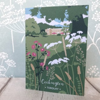 greetings cards featuring illustration of Cockington Court in Torquay, Devon