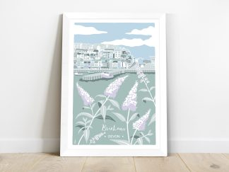Digital illustration of Brixham harbour, Devon. Coastal art with buddleia