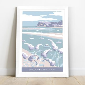 framed print of Shaldon in South Devon with boats and flowers