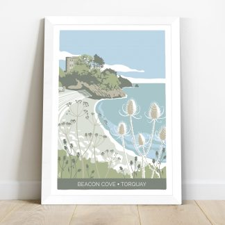 framed print featuring illustration of Beacon Cove in Torquay, Devon by artist Beth Hill