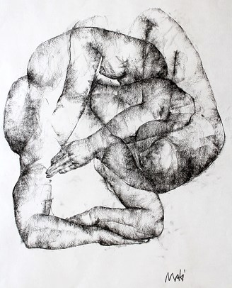 Maki Horanai | Figure Study #3 | Charcoal on paper | Mounted and framed |840 x 700mm |$625