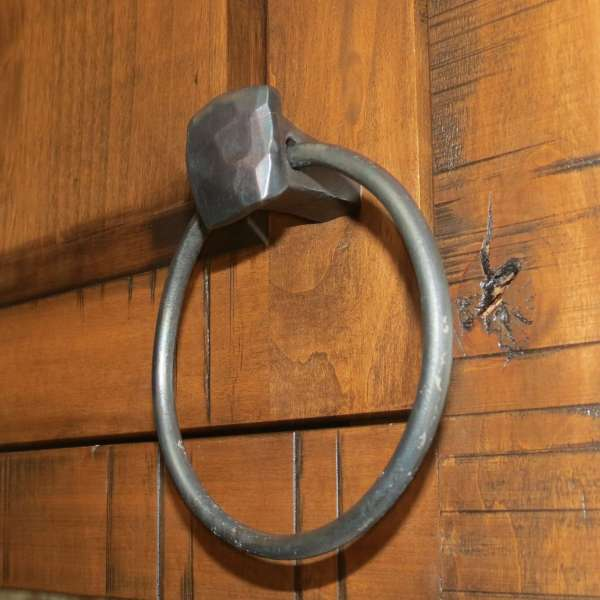 square knob towel ring pull