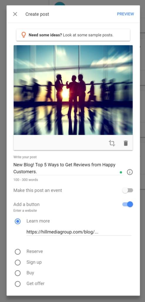 Create an Update Post to Google My Business Listing
