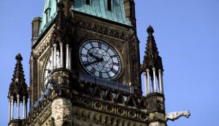 Peace Tower close-up of clock face with detail, Parliament of Canada