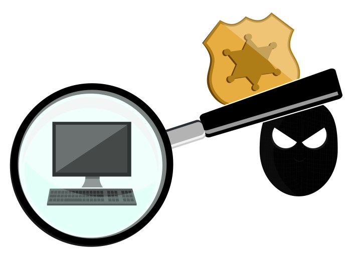 Magnifying glass showcasing computer, with law enforcement symbol and burglar imagery in background. Visual created by Library of Parliament.