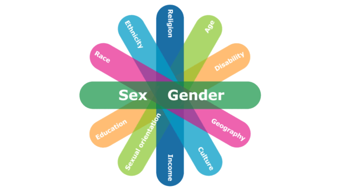"""This figure illustrates some of the factors which can intersect with sex and gender. Six oblong shapes of differing colors overlap and fan out. Each oblong has two identity factors written on it. The top oblong has """"sex and gender"""" written in a larger font. Starting below sex and gender and going clockwise, the additional identities identified are: geography, culture, income, sexual orientation, education, ethnicity, ability, age, religion and language."""