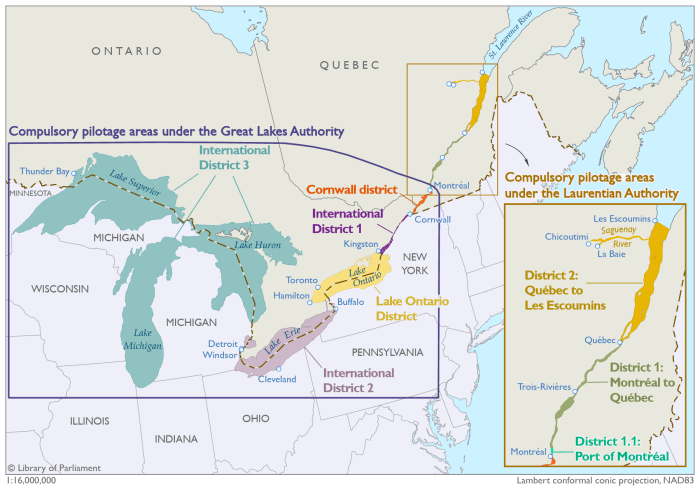 This map illustrates the compulsory pilotage areas under the Great Lakes Pilotage Authority and Laurentian Pilotage Authority as defined by the Pilotage Act. Under the Great Lakes Pilotage Authority the map depicts five areas that are established as compulsory pilotage areas, from east to west: - Cornwall District, being the waters of the St. Lawrence River between the Port of Montréal and the pilot boarding station near Cornwall. - International District 1, being the waters of the St. Lawrence River from the boarding station near Cornwall to Kingston. - Lake Ontario District. - International District 2, being the waters of the Welland Canal, Lake Erie and the waters of the connecting channels between Lake Erie and Lake Huron. - International District 3, being the waters of Lakes Huron, Michigan and Superior including the connecting waters. Under the Laurentian Pilotage Authority the map depicts three areas that are established as compulsory pilotage areas, from south to north: - District 1.1, being the waters of the St. Lawrence River in the Port of Montréal. - District 1, being the waters of the St. Lawrence River between the Port of Montréal and Québec. - District 2, being the waters of the St. Lawrence River between Québec and Les Escoumins as well as the navigable waters of the Saguenay River.