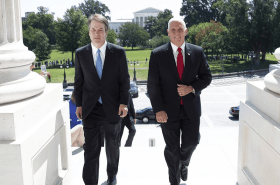 Mike Pence and Brett Kavanaugh; new accuser has security clearance