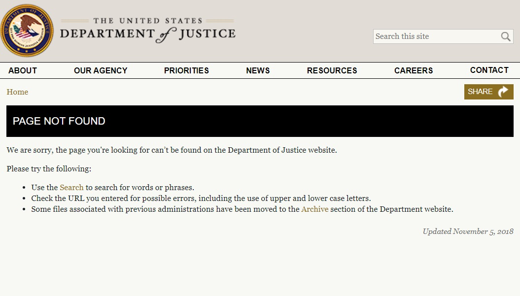 Justice Department page not found