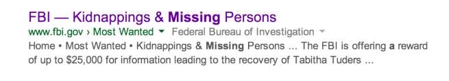 fbi number of girls missing