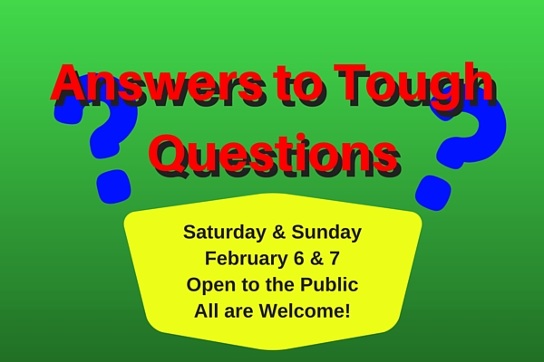 Hillside Community Church presents Answers to Tough Questions.