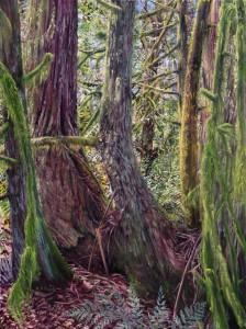 Cedar Family, 40″ x 30″, oil on canvas, Kathleen Fruge-Brown