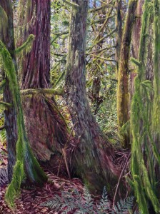 Cedar Family, 40″ x 30″, oil on canvas, Kathleen Fruge-Brown