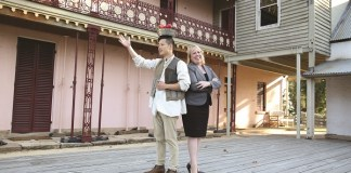 Mayor Michelle Byrne with Shakespeare in the Park actor George Zhao