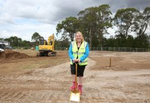 Mayor Byrne turning sods at the new Gormon Avenue Reserve