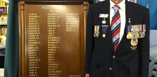 Former student and RAN veteran Ron Smith who served for 22 years unveiled the WW1 honour board at Castle Hill Public School
