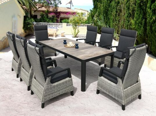 stylish riley ceramic reclining dining set