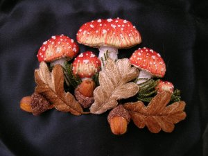 Mushrooms and Acorns by Windflower Embroidery