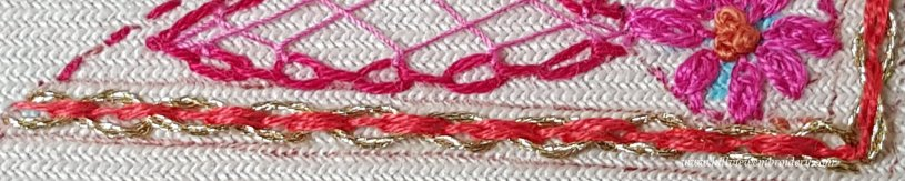 detail of threaded cable chain stitch 1