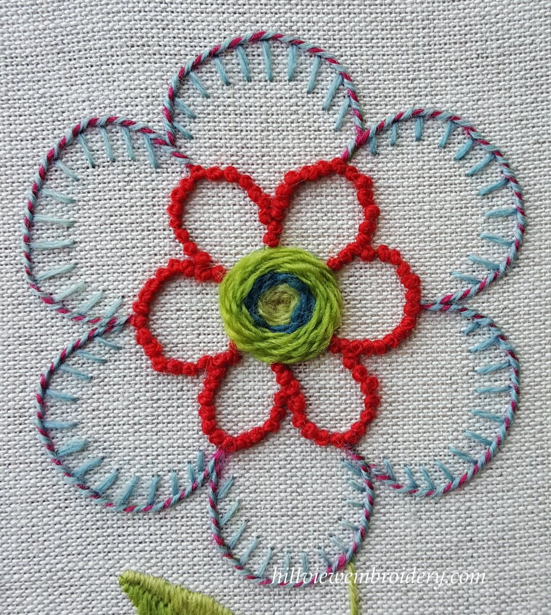 completed flower motif