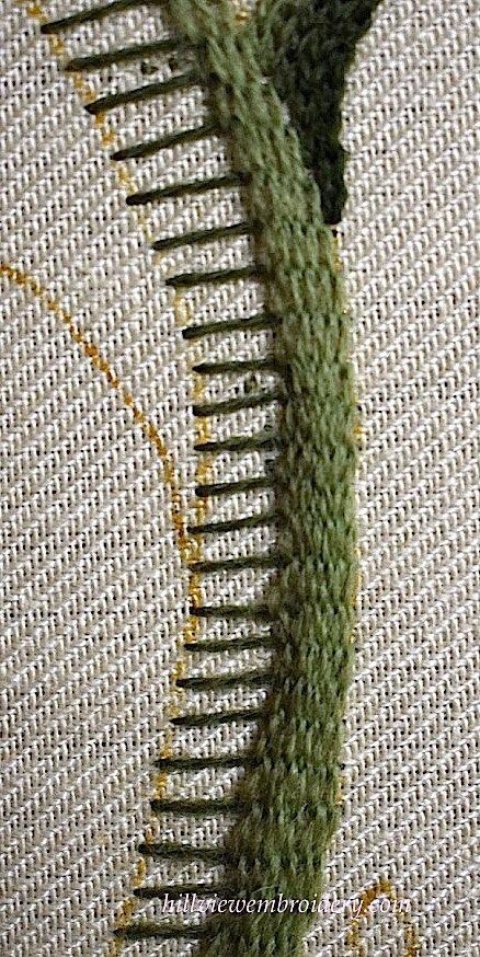 working raised stem stitch