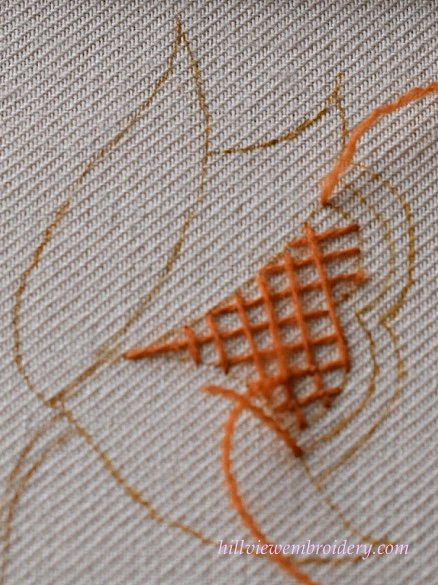 Working trellis stitch