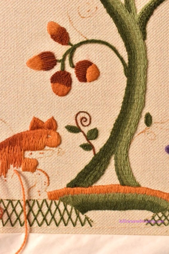Jacobean crewelwork in progress