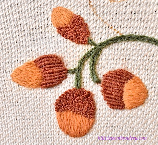 Jacobean crewelwork acorns