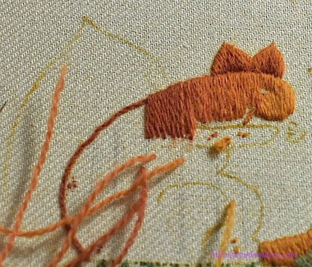adding in colour in tapestry shading on Jacobean crewelwork