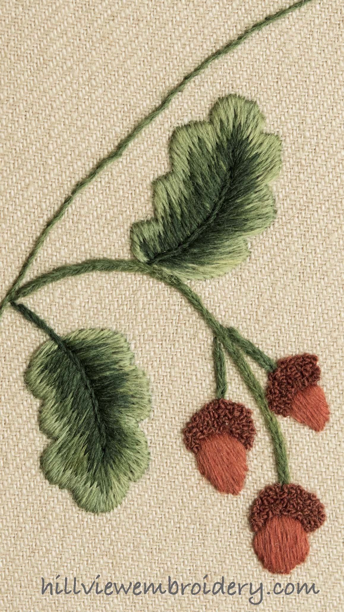 Oak leaves and acorns worked on a modern interpretation of crewelwork