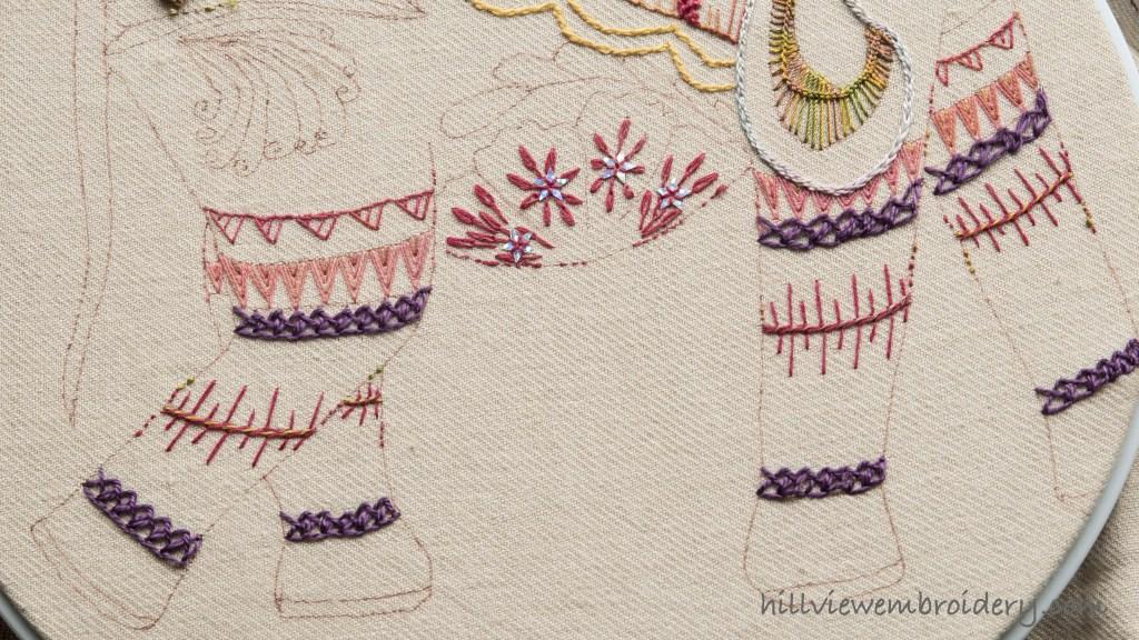tast elephant sampler interlaced feather stitch