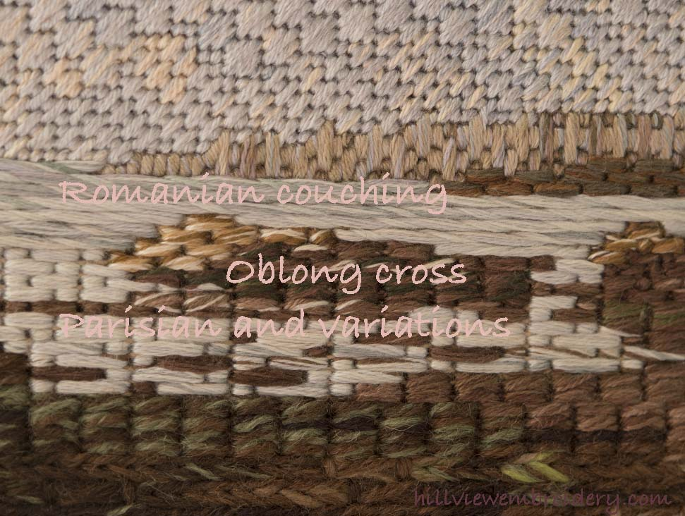 Canvaswork stitches in detail - creating water