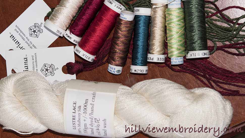 a collection of threads purchased at the knitting and stitching show