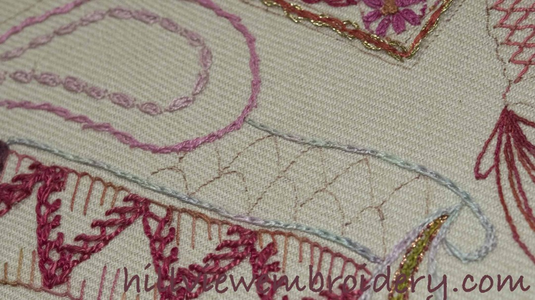 Sampler continuing with linked chain stitch