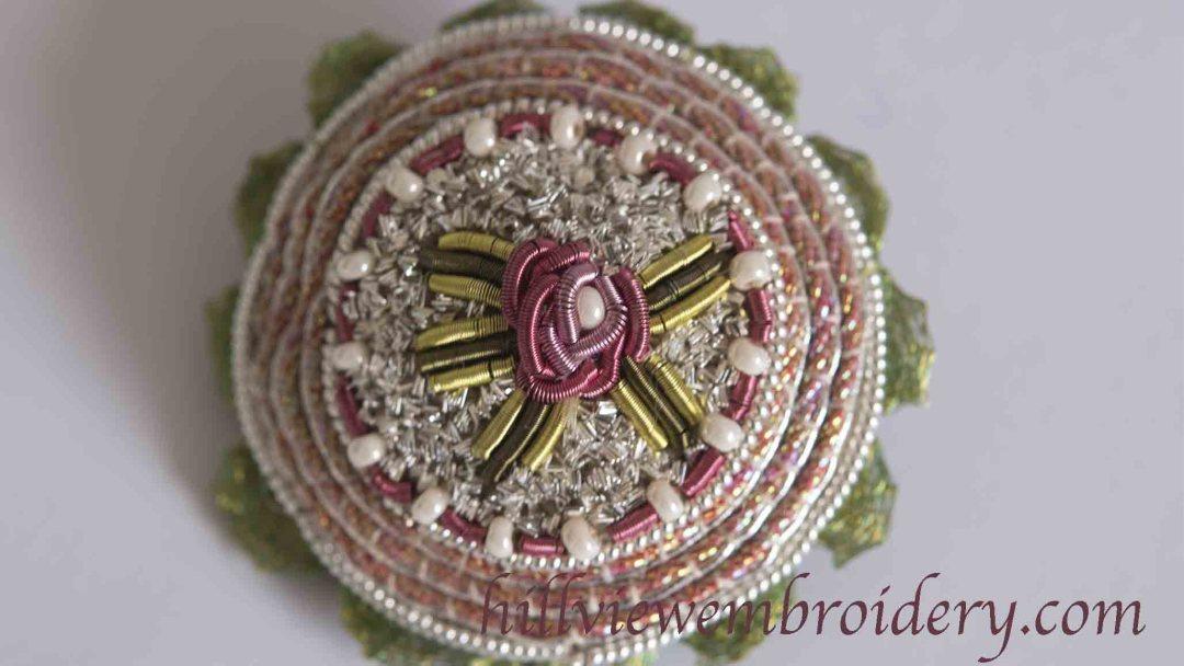 Finishing Jenny Adin-Christie's Milleflori button brooch