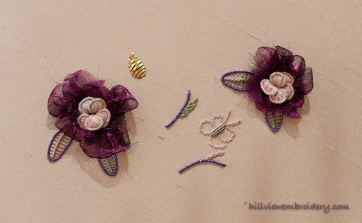 Part worked textile art piece using Delectable Morsels pack