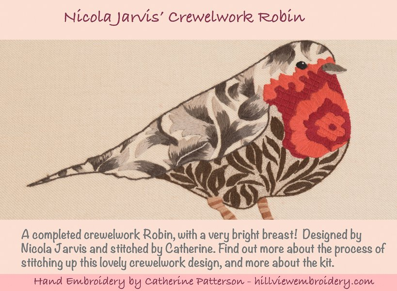 Crewelwork Robin designed by Nicola Jarvis and stitched by Catherine of Hillivew Embroidery. Find out more about the stitches and threads used by heading to Hillview Embroidery's blog!