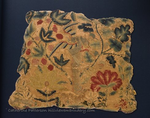 An aged example of Jacobean crewelwork in Phillip Turnbull's collection showing the reoccurring theme