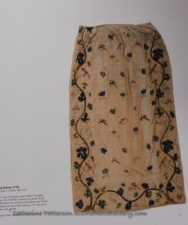 A practical example of crewelwork has been used in the past