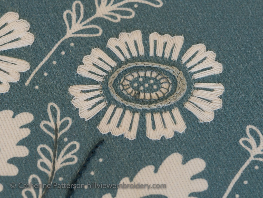 Detail of how the flower has been worked on this kit by Anne's Orchard worked by Catherine of Hillview Embroidery