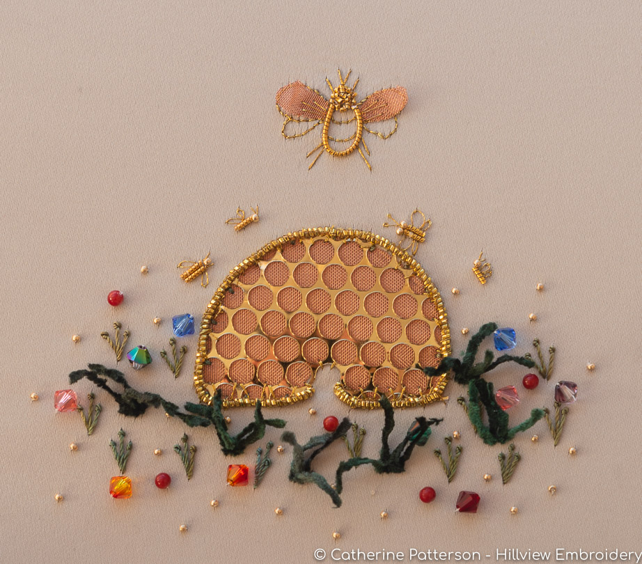 A fun, creative textile play hand embroidery piece - 'Queen Bee'