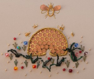 Meet Queen Bee! A fun and creative Textiles play with a variety of different materials and techniques. Designed and stitched by Catherine of Hillview Embroidery
