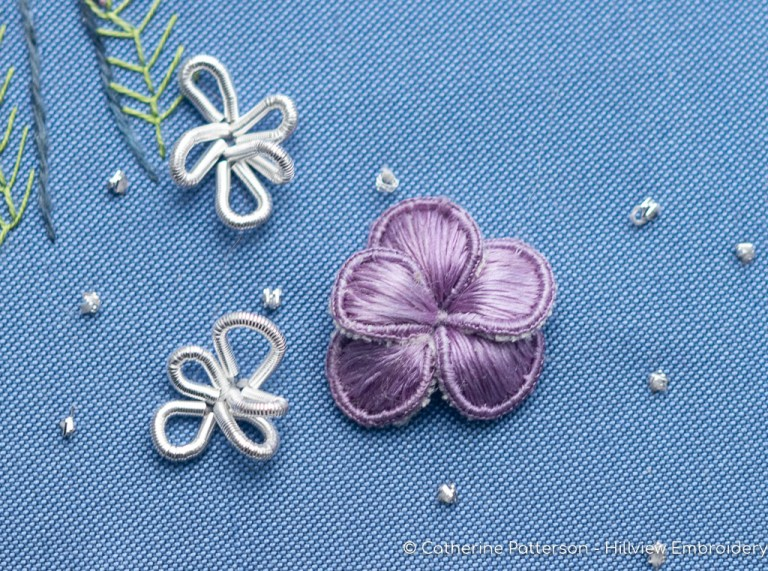 stumpwork flower worked with DeVere Yarns silk thread and metalwork purl flowers. Designed and stitched by Catherine of Hillview Embroidery