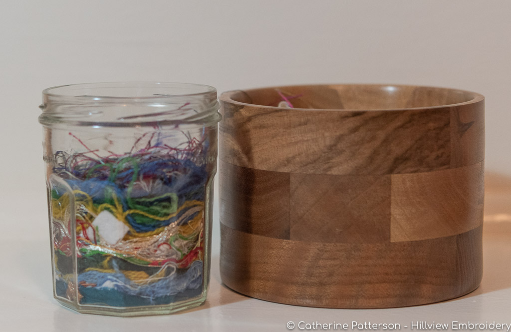 Ort jars - a useful, and often pretty, addition to a hand embroiderers list of tools. Here, you can see how you can both reuse jam jars, or use something else, to keep your thread ends in! Visit Catherine at Hillview Embroidery to find out more!