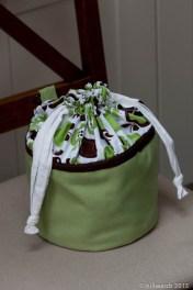 Homemade clothes peg bag free-standing